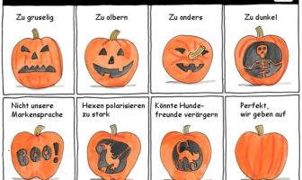 Cartoon: Diskussion von Marketingideen für Halloween