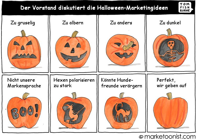Cartoon: Diskussion von Marketingideen für Halloween
