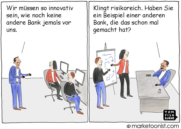 Cartoon: Innovationsrisiko in Banken und Sparkassen