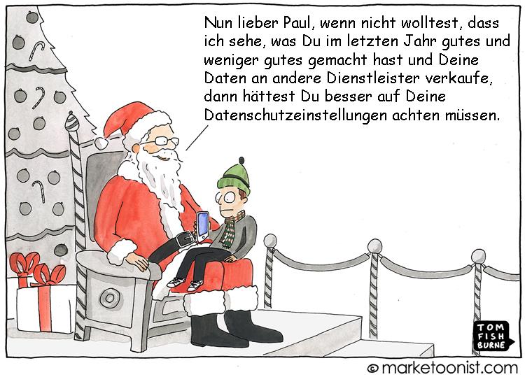 Cartoon: Weihnachten und Datenschutz stehen nicht immer im Einklang