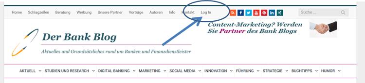 Login und Profil im Bank Blog Menü