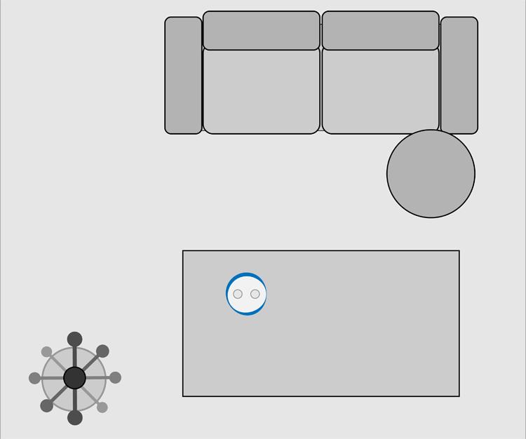 Testaufbau für den Autorisierungsvorgang beim Voice Banking im Wohnzimmer