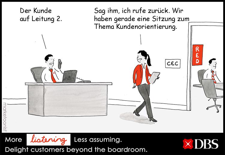 Cartoon: Kundenorientierung in Banken und Sparkassen