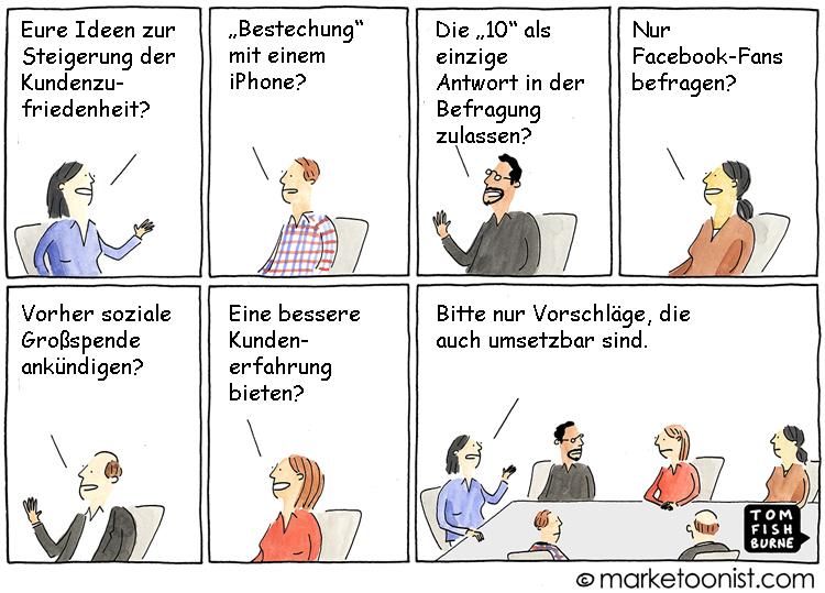 Cartoon: Ideen zur Steigerung der Kundenzufriedenheit