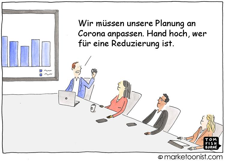 Cartoon: Anpassung der Planungen an den Coronavirus