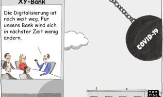 Cartoon: Der Coronavirus zwingt Unternehmen zur Digitalisierung