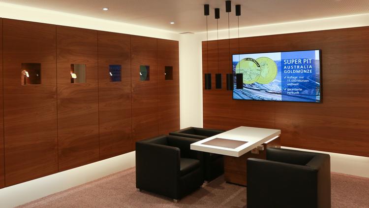 Gold-Lounge am Hauptsitz der VR Bank Südpfalz
