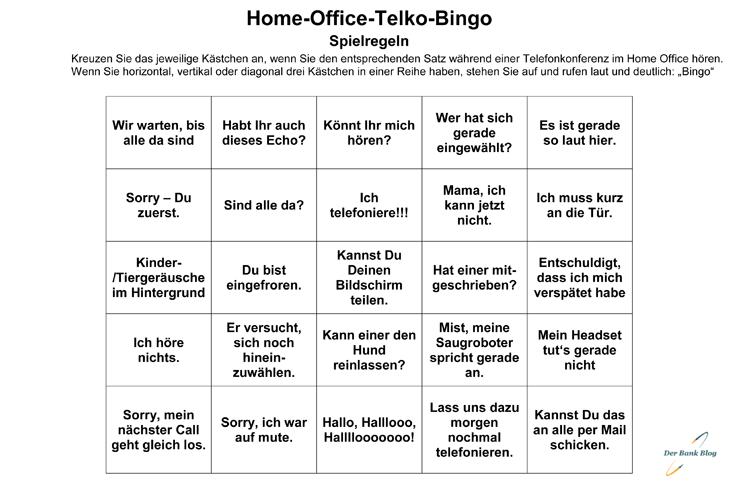 Spielen Sie doch mal eine Runde Home-Office-Telko-Bingo.