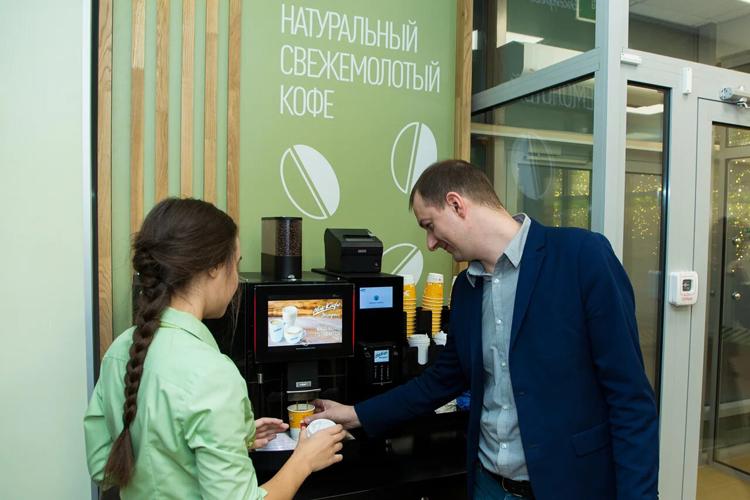 McCafé-Zone in der Bankfiliale der Sberbank
