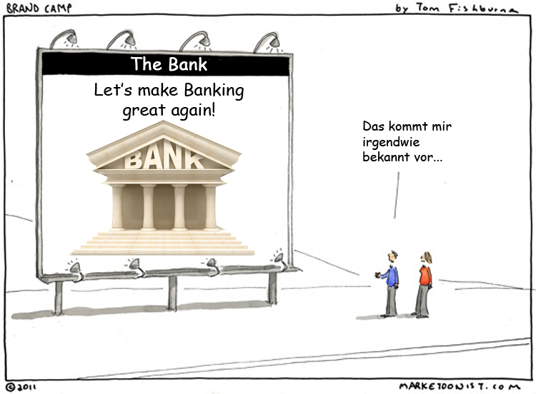 Cartoon: Neue Bankwerbung nach Donald Trump