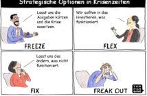 Cartoon: Strategische Optionen in Krisenzeiten