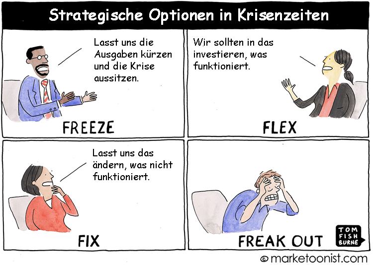 Cartoon: Strategische Optionen in Krisenzeiten