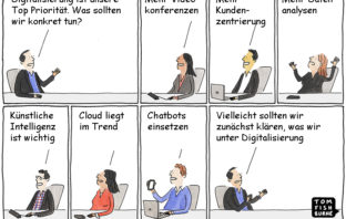 Cartoon: Klarheit bei der digitalen Transformation schaffen