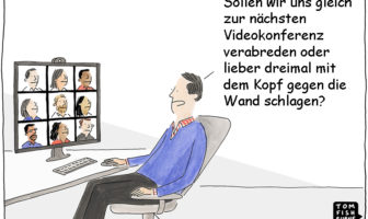 Cartoon: Zu viele Videokonferenzen ermüden