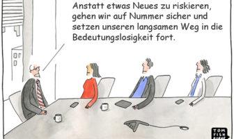 Cartoon: Vermeintliche Sicherheit kann ein hohes Risiko bedeuten