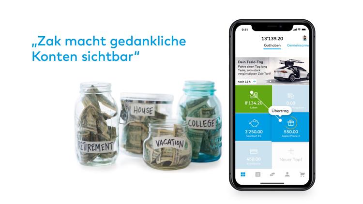 Konto-Töpfe als Killer-Feature der Zak-Banking App der Bank Cler