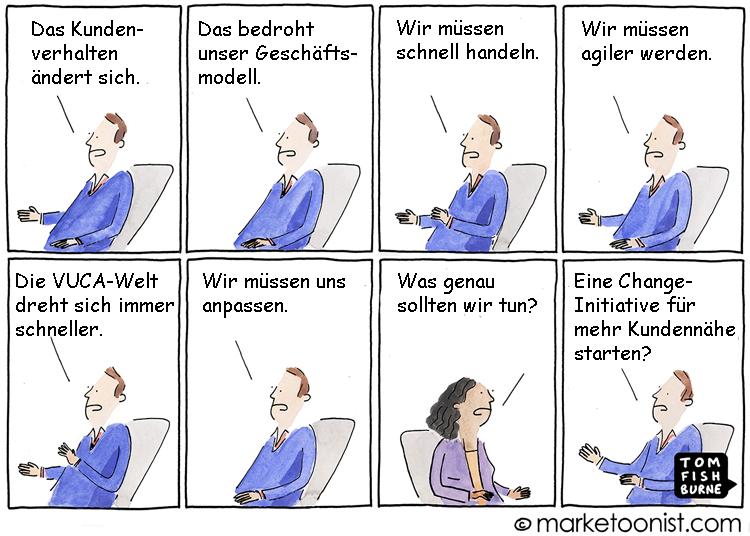 Cartoon: Die Antwort auf Veränderungen im Kundenverhalten