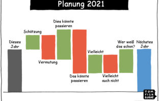 Cartoon: Herausforderungen der Planung