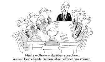 Cartoon: Übertriebene Konformität ist der Feind von Neuem