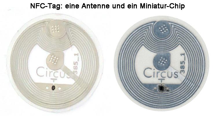 NFC-Tag: eine Antenne und ein Miniatur-Chip