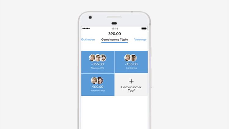 Die gemeinsamen Töpfe der Bank Cler Zak App