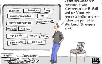 Cartoon: Marketing in Zeiten der Corona-Krise