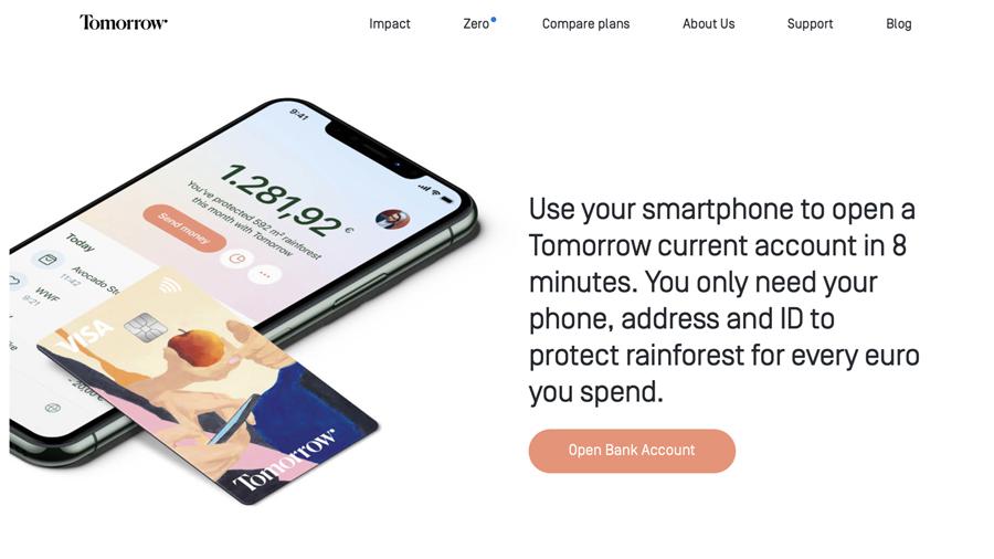 Screenshot der Website des Mobile Banking Anbieters tomorrow