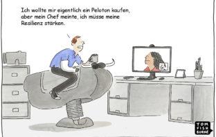 Cartoon: Mitarbeiter müssen Resilienz trainieren