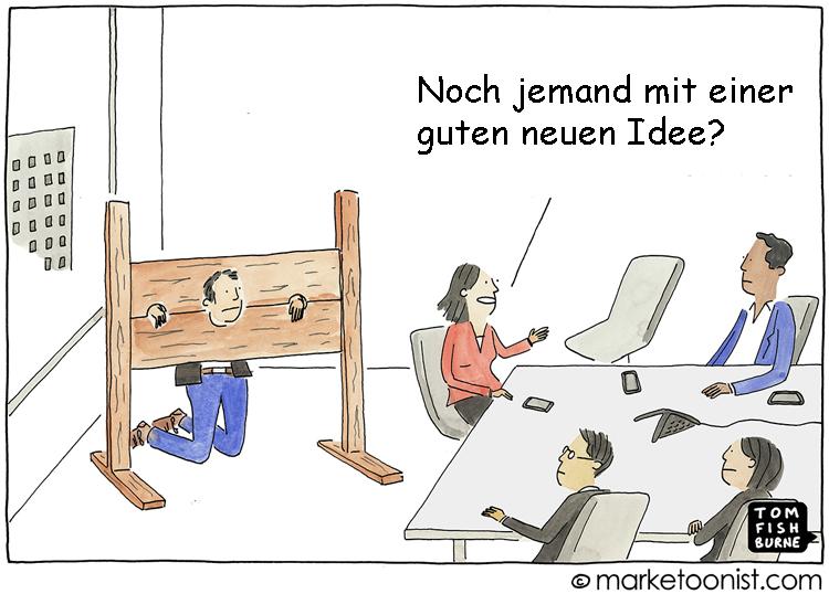 Cartoon: Angst und Unsicherheit verhindern neue Ideen und Innovationen