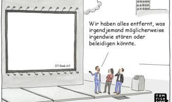 Cartoon: Minimalistischer Werbeansatz um niemand zu verletzen oder zu stören