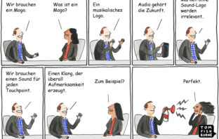 Cartoon: Banken brauchen ein musikalisches Logo