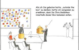 Cartoon: Outside the Box zu denken ist nicht immer einfach