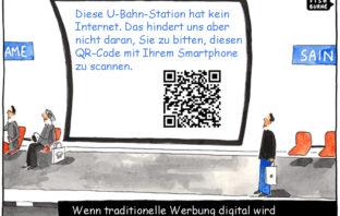Cartoon: Wenn traditionelle Werbung digital wird