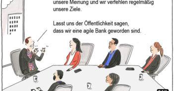 Cartoon: Agilität statt Ziele und Vision