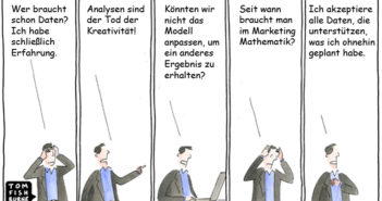 Die fünf Phasen des datengetriebenen Marketings - Cartoon