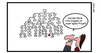 Unsere Projektorganisation ist agil – Cartoon