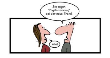 Digitalisierung der Finanzbranche und der Hype-Cycle – Cartoon